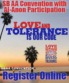 Love and Tolerance is Our Code - 2018 Santa Barbara AA Convention with Al-Anon Participation Logo